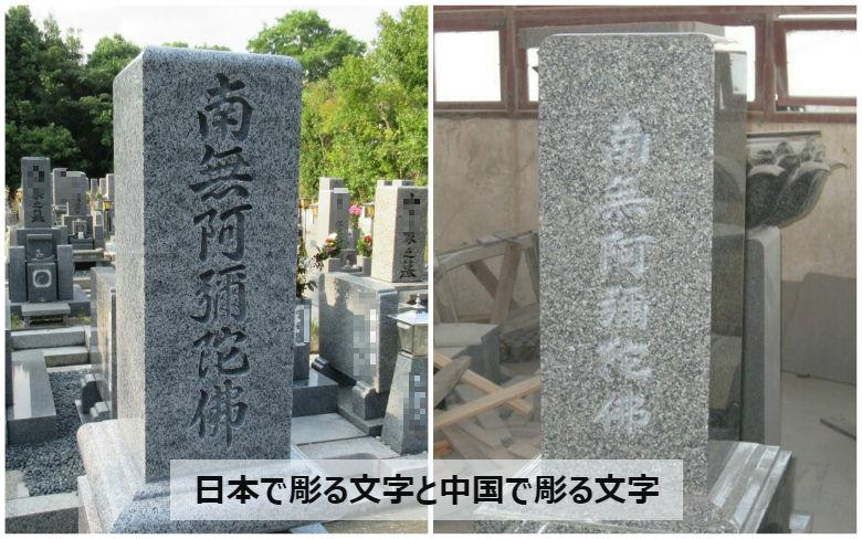日本で彫る文字と中国で彫る文字