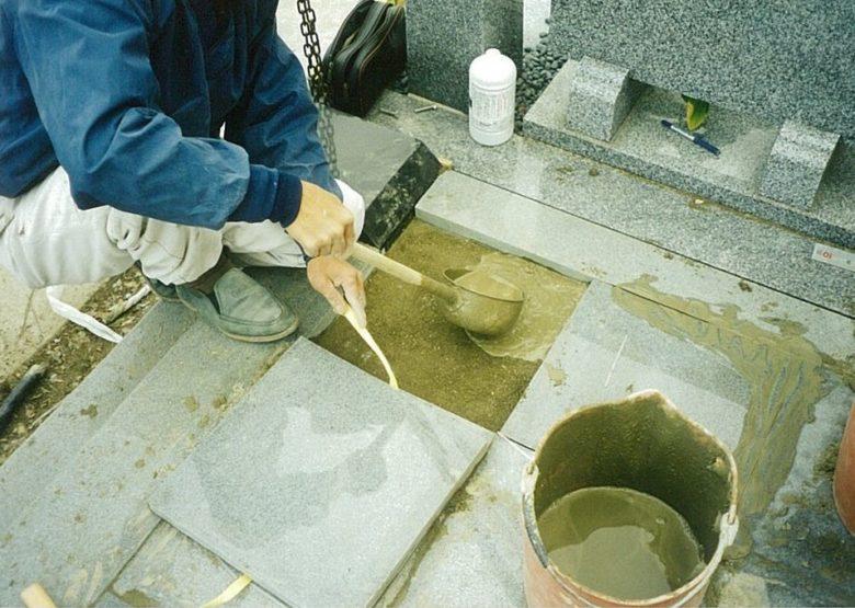 モルタル使用による石張り施工