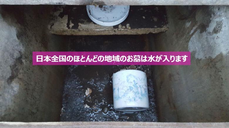 日本全国のほとんどの地域のお墓は水が入ります