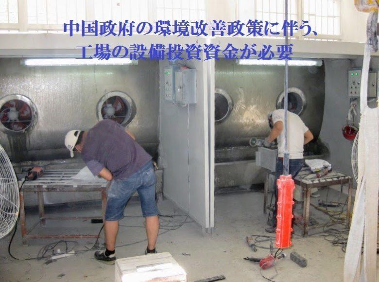 中国政府の環境改善政策に伴う、工場の設備投資資金が必要