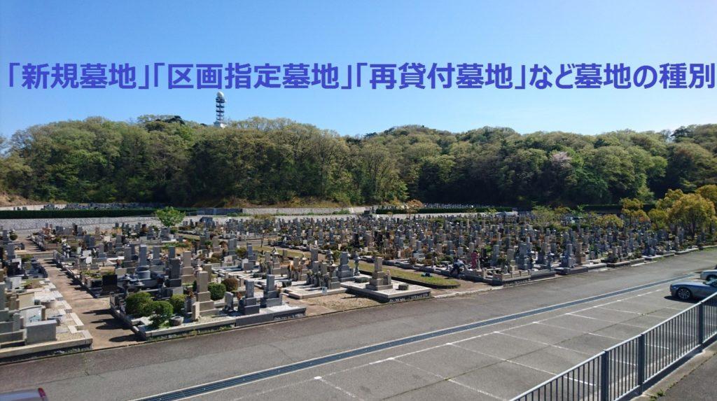 「新規墓地」「区画指定墓地」「再貸付墓地」など墓地の種別