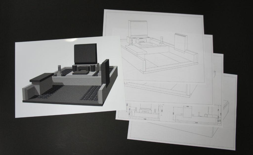 TY様にご提案する墓碑の設計図