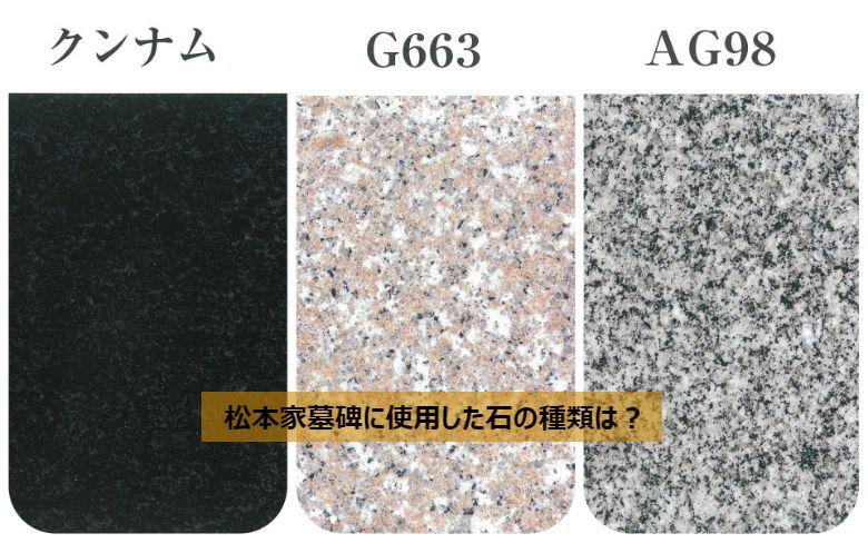 松本家墓碑に使用した石の種類は?