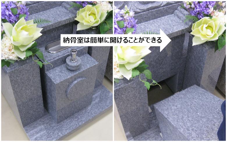 お墓の納骨室は簡単に開けることができる