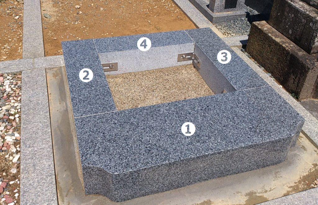 4つの部材を組み合わせてつくる四ツ石の芝台