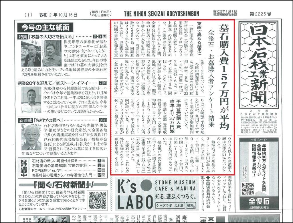 墓石購入費157万円が平均-日本石材工業新聞・2225号