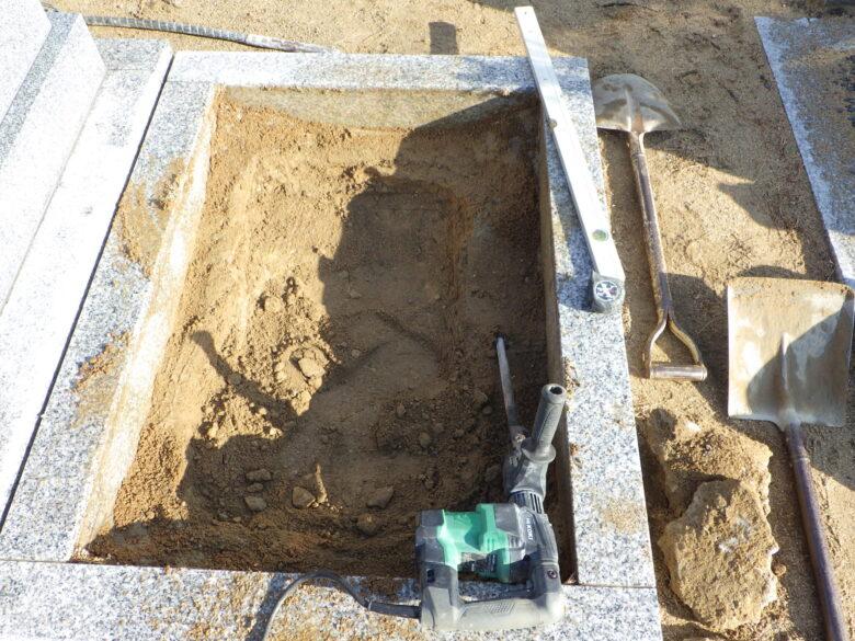 墓地基礎工事‐掘方