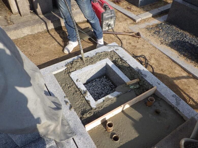 墓地鉄筋コンクリート基礎工事